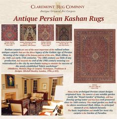 """""""The quality of … Kashan weavings is high, and sometimes exquisite rugs were made. Rugs and carpets were closely woven using a cotton foundation with a Persian knot. The thin double weft is often a pale blue color and the wool is incredibly soft and lustrous …  By the early 1900s the weavers of Kashan had mastered the curvilinear designs that are now recognized as typical of Kashan weaving"""" (ibid, p.103).  Click to learn more about the rich history of antique Persian Kashan weaving."""