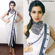 Samantha in White Plain Dhoti Saree with Embroidery border by Roshni Chopra Dhoti Saree, Saree Gown, Anarkali, Khada Dupatta, Set Saree, Lehenga Choli, Saree Blouse, Salwar Kameez, Saree Wearing Styles