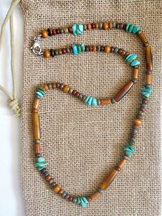 Native American Turquoise Golden Horn Necklace – Earth Ocean Fire Jewelry