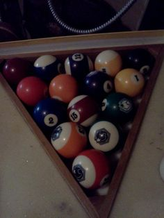 Pool table balls in box in Jennifer74's Garage Sale Tullytown, PA for $20.00