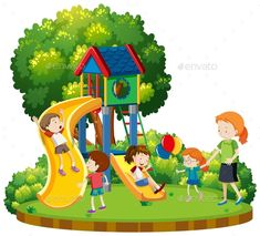 Buy Mother and Children at Playground by BlueRingMedia on GraphicRiver. Mother and children at playground illustration This image was created using Adobe Indesign Included in this pack. Playground Design, Children Playground, Playground Slide, Playground Pictures, Playground Painting, Kids Church Rooms, Early Childhood Centre, Earth Day Crafts, School Painting