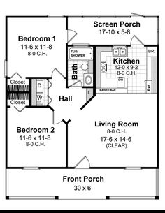 2 Bedroom House plans Square Feet square feet 2