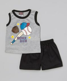 Look at this #zulilyfind! Gray 'Home Run' Tank & Black Shorts - Infant by Angel Face #zulilyfinds