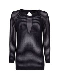 Stripped openwork sweater with raglan long sleeves, round neck, back slit, ribbed cuffs and hem. Mango Sale, Sweaters For Women, Men Sweater, Sweater Fashion, Pullover, Trousers, Knitting, Long Sleeve, Sleeves