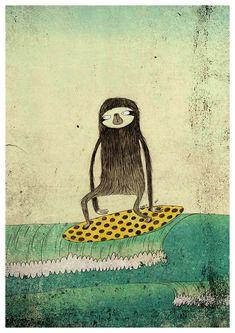 Surfing sloth A4 print par lukaluka sur Etsy, $15.00