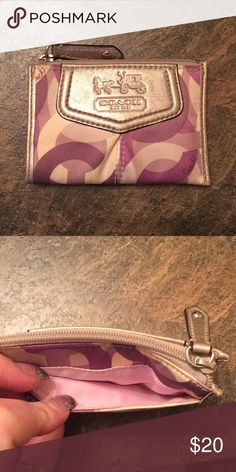Shop Women s Coach Cream Purple size OS Wallets at a discounted price at  Poshmark. Has outside pocket and zipper closure and keychain. c4a39c5a2