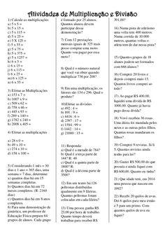 Atividades de Multiplicação e Divisão 1) Calcule as multiplicações a) 5 x 5 = b)…
