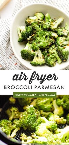 Recipes Broccoli Crispy, delicious Broccoli Parmesan made in the air fryer! A healthy, seriously tasty air fried treat that will get the whole family enjoying their greens. Fried Broccoli, Broccoli Recipes, Vegetable Recipes, Vegetarian Recipes, Healthy Recipes, Ninja Recipes, Parmesan Recipes, Healthy Eats, Easy Recipes