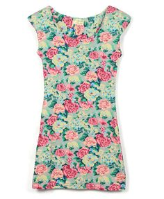 Retro Floral Bodycon Dress with Padded Shoulder from Chicnova