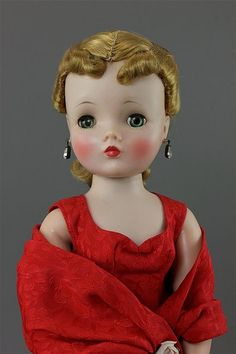 "20"" MADAME ALEXANDER HARD PLASTIC ""CISSY"" IN RED BROCADE DRESS, ALL ORIGINAL AND NEAR MINT"