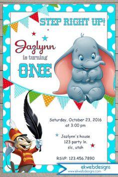 Disneys Dumbo Birthday Invitation