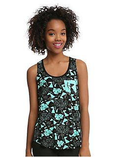 """<div>You don't need to be brave to wear this tank top from Disney. It's guaranteed to look good on ya! The black tank top from <i>Brave </i>features a teal tossed print of images from the movie and a teal pocket on the left chest with a silhouetted image of Merida drawing her bow.</div><div><ul><li style=""""list-style-position: inside !important; list-style-type: disc !important;"""">95% rayon; 5% spandex</li><li style=""""list-style-position: inside !important; list-style-type: disc !important;"""">"""