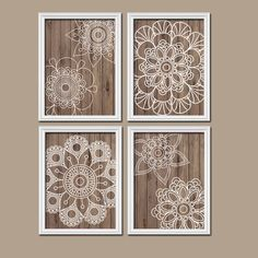 ★Wall Art Artwork Mandala Wood Grain Doilies Circle Flower Medallion Design Brown White Set of 4 Prints Bedroom Decor Bathroom ★Includes 4 unframed