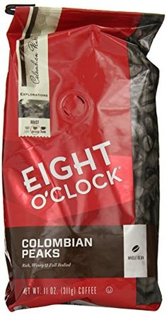 Eight O'Clock Coffee, Colombian Peaks Whole Bean, 11-Ounce Bags (Pack of 4) *** Want additional info? Click on the image.