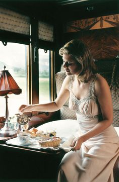 This scene suggests a train scene I am working on for my new novel.  My character Cordelia would have breakfast on the Orient Express.   Kitty Pilgrim