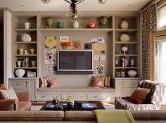 Mount the TV between built-ins for a clean and open look…(courtesy Jeffers Design Group)