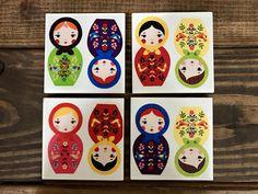 Coasters  Nesting Doll  Matryoshka  Handmade Ceramic Tile