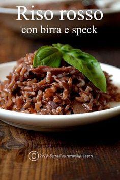 riso rosso selvaggio biologico con birra e speck , una delizia con poche calorie