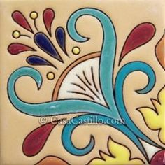 :: Mexican Tiles High Relief Ceramic Cuerda Seca Malibu::