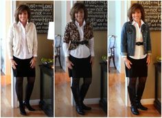 White Blouse + Black Pencil Skirt= 3 Outfits