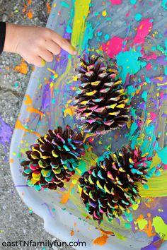 Splatter Painted Pine Cone Craft for Kids