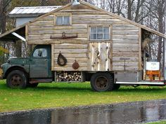 honey! i found a motor home we can afford!!! Hubby has been looking for something to do with the old truck sitting on the yard!