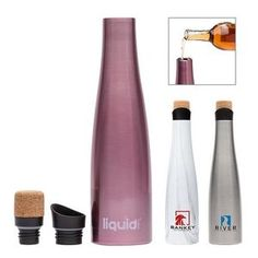 Liquid Fusion 25 oz. Vacuum Insulated Steel Wine Carafe / Bottle Wine Carafe, Client Gifts, Branded Gifts, Drinkware, Martini, Unique Gifts, Water Bottle, Steel, Awesome