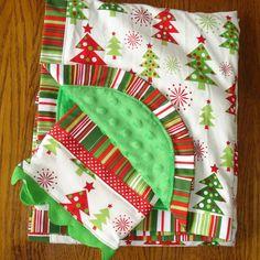 Christmas Tree Minky Blanket and Burp cloth Laurelwhite via Etsy.