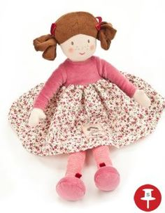 With pigtails and freckles, Molly is a sweet and soft cotton rag doll with an embroidered face and velour hair. Pretty stripy tights and gathered floral frock with net underskirt complete the look. At 42cm high, she is machine washable with a natural linen carry bag with her name embroidered on the side.Designed in England. - £29.95 - Powered by Pin2Sell