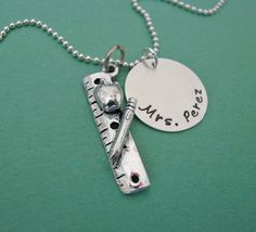 personalized teacher necklace by juliethefish on Etsy