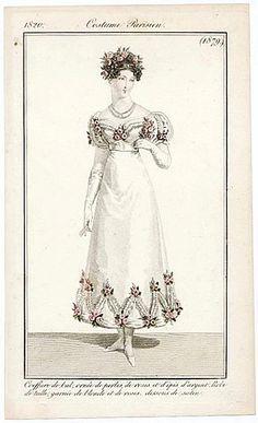 Le Journal des Dames et des Modes 1820 Costume Parisien N°1879