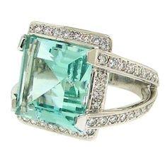 Vintage 1950s Engagement Ring- Aquamarine & Diamond
