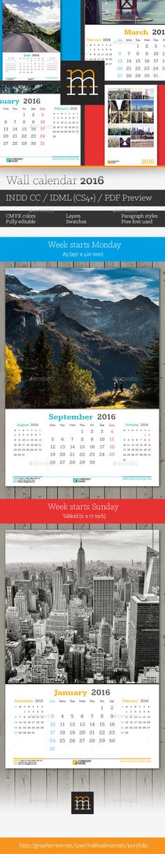 Wall Calendar 2017 Updated -V10 Template, Calendar design and - Indesign Calendar Template