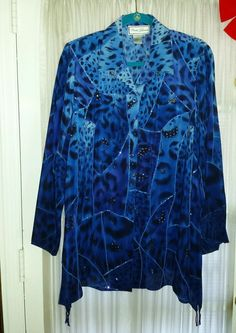 DIANE GILMAN STUNNING ROYAL BLUE SILK & BLUE SEQUIN TOP SHIRT WOMEN'S SZ M NWOT #DianeGilman #Blouse