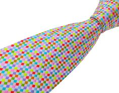 Silk Tie for Men - Colourful Check Necktie - Made in the UK - 'All Neon Like'