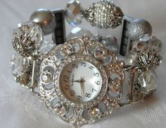 Silver and Crystal Beaded Watch Band and Face -