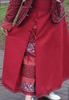 Купить Юбка Катюша - комбинированный, юбка льняная, русский стиль, русская одежда, юбка в пол
