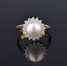 Retro 18K Gold Akoya Pearl Diamond Halo Ring #Pearl #Classic #intage #Diamond #18K #Ring #Gold #Halo #Fist #Jugenstil