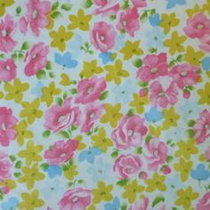 vintage sheet fabric fat quarter pink gold and blue by sosovintage