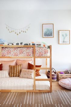Shared kids' bedroom with boho or shabby chic decor