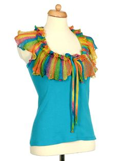 Upcycled Turquoise Tank Top With Rainbow Crochet Ruffle Collar
