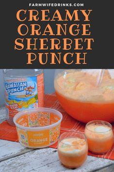 Orange Sherbert Punch, Sorbet Punch, Raspberry Sherbet, Blue Punch, Punch Recipes For Kids, Party Punch Recipes, Fall Punch Recipes, Easy Lemonade Punch Recipe, Drink