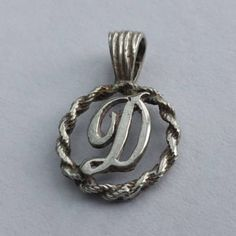 Initial 'D' Pendant or Charm - Sterling Silver Name Necklace. Vintage Pendant. Letter D for Diane, Debbie, Dee by LittleVintageCharmCo on Etsy