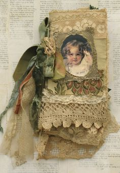 Mixed Media Fabric Collage of French Belles