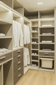Staying with the 'Neutrals' theme, we love this walk-in-wardrobe. A combination of open and closed storage space, a great design for a smaller space.
