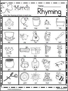 March Rhyming Worksheet - Made By Teachers