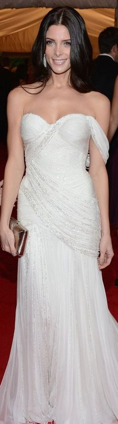 Ashley Greene in Donna Karan Atelier white grecian gown