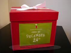 Night Before Christmas Box- Add pjs, storybook, movie, snacks, a stuffed etc. Start a new tradition!