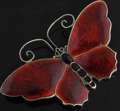 David Andersen Vtg Sterling Silver Red Black Enamel Butterfly Pin Brooch Norway | eBay
