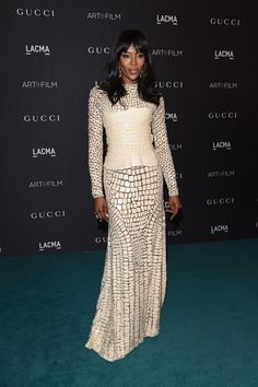 """LACMA Art + Film Gala 2015: Naomi Campbell In Givenchy Haute Couture - """"This was a moment. The dresswas from one of my favorite Givenchy couture collections and Naomi is one of Riccardo Tisci's muses. It's like snakeskin—very reptilian."""""""